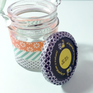 Also stick Washi tape around the edge of the lid.